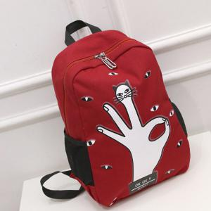 Casual Eyes Finger Print Canvas Backpack -