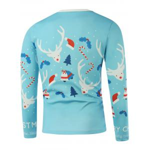 Merry Christmas Elk Candy Cane Printed Long Sleeve Sweatshirt - LIGHT BLUE 5XL