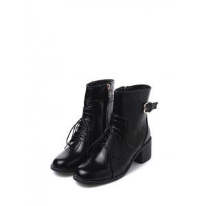 Tie Up Buckle Chunky Heel Short Boots - BLACK 38