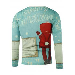 Merry Christmas Printed Long Sleeve Sweatshirt - LIGHT BLUE 5XL