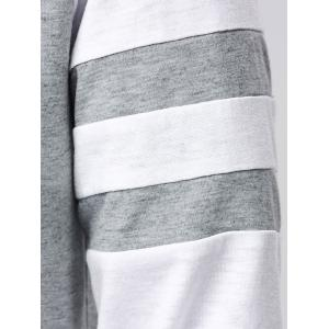 Striped Sleeve Long T-Shirt - GREY/WHITE XL