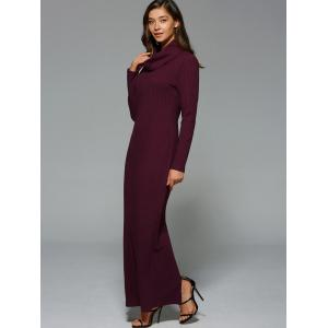 Maxi Slit Ribbed Long Sleeve Winter Dress -