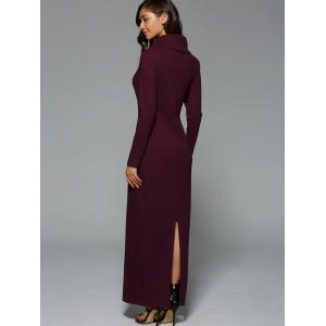 Turtleneck Slit Knit Maxi Dress - WINE RED 2XL
