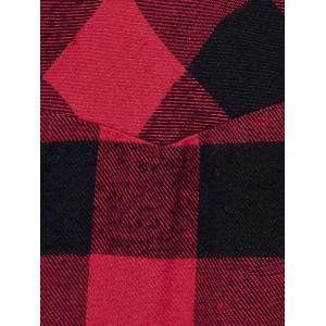 Kangaroo Pocket Adjustable Sleeve Plaid Hoodie -