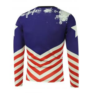 American Flag Pentagram Printed Long Sleeve Sweatshirt -