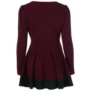 Patchwork Peplum Blouse - RED/BLACK M