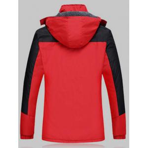 Color Block Detachable Hood Ski Jacket -