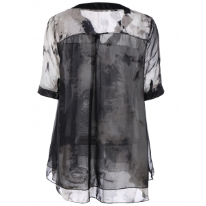 Plus Size Ink Painting Print Chiffon Blouse - BLACK XL