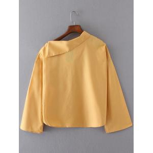 Skew Neck Buttoned Long Sleeves Blouse - GOLDEN YELLOW L
