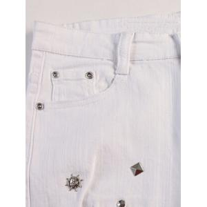 Slim Fit Stub Embellished Distressed Jeans -