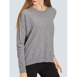 Relaxed Fit Zip Back Sweater - GRAY ONE SIZE