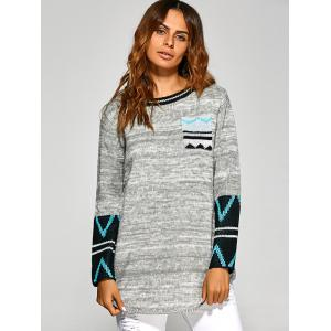 Zigzag Tunic Knitwear with Front Pocket - LIGHT GRAY ONE SIZE