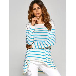Shark Mouth Hem Striped Tunic Knitwear - WHITE ONE SIZE