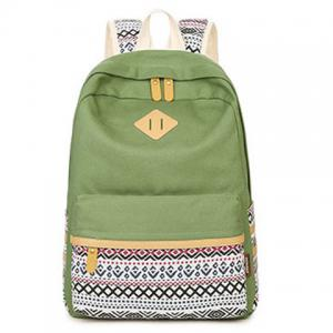 Canvas Geometric Pattern Color Block Backpack - CELADON
