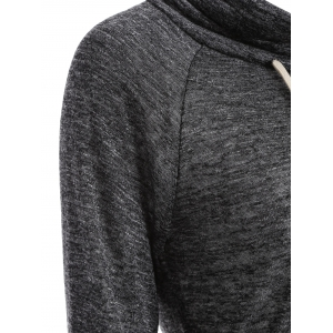 Color Block High Neck String Sweatshirt - GRAY XL