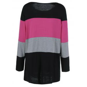 Plus Size Colorful Striped Comfy T-Shirt - BLACK AND PINK 5XL