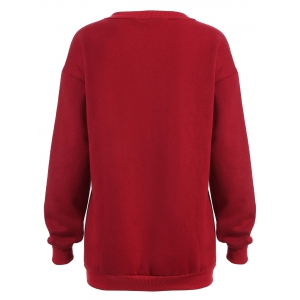 Pullover Letter Print Thicken Sweatshirt - DEEP RED 4XL