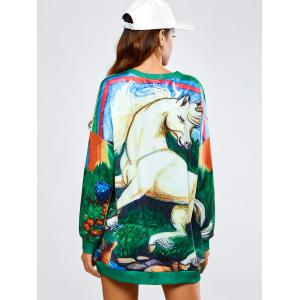 Long Horse Print Loose Sweatshirt - GREEN ONE SIZE