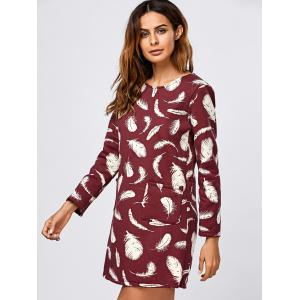Feathers Print Thicken Long Sleeve Tunic Dress - WINE RED L