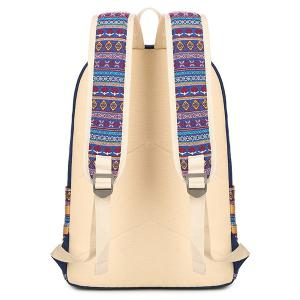 Colour Block Flower Pattern Canvas Backpack - LIGHT GREEN
