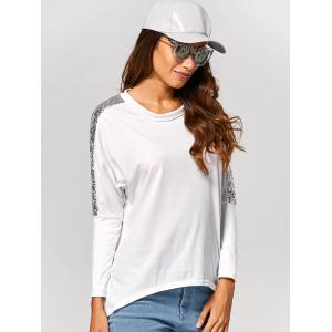 Batwing High Low Sequin T-Shirt - WHITE M