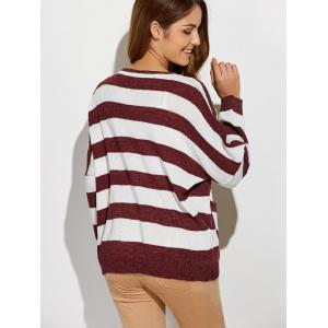 Scoop Neck Striped Color Block Sweater - RED/WHITE ONE SIZE