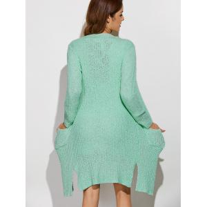 Collarless Pockets Long Side Slit Cardigan - LIGHT GREEN ONE SIZE