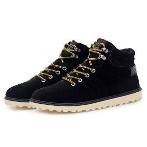 Suede Lace-Up Ankle Boots - BLACK 43