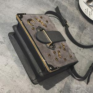 Splicing Metal Corner Square Shape Crossbody Bag -