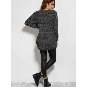 V Neck Pockets Sweater - DEEP GRAY ONE SIZE