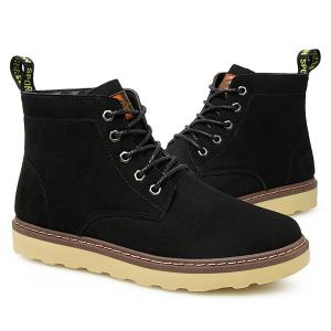 Eyelet Suede Lace-Up Short Boots - BLACK 43