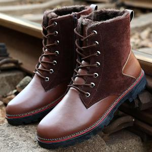 Vintage Suede Splicing Lace-Up Boots - BROWN 43