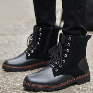Bottes Vintage Suede Splicing Lace-Up - Noir 42
