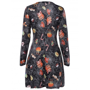 Pumpkin Skull Hallowmas Print Mini Swing Dress -