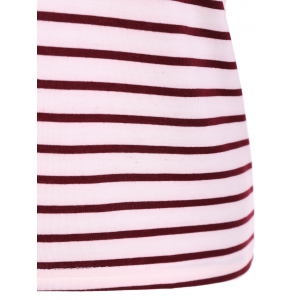 Scoop Neck Striped Back Patchwork T-Shirt - RED XL