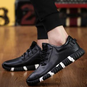 Stitching Lace-Up Textured PU Leather Athletic Shoes -
