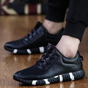 Stitching Lace-Up Textured PU Leather Athletic Shoes - BLACK 43