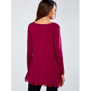 High-Low Lace T-shirt lâche épissage - Rouge vineux L