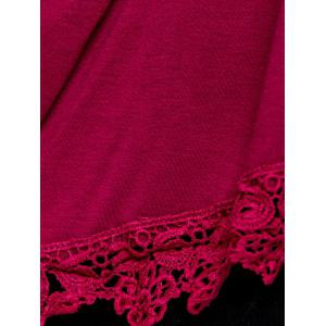 High-Low Lace T-shirt lâche épissage - Rouge vineux  XL