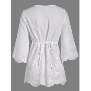 Openwork Flower Embroided Flare Sleeve Pleated Blouse - WHITE XL