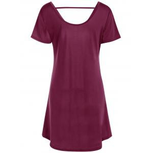 Hollow Out Tunic Tee Casual Dress - WINE RED M