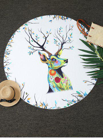 Chic Christmas Reindeer Print Round Blanket Throw WHITE ONE SIZE(FIT SIZE XS TO M)