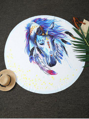 Shop Dreamlike Horse Print Round Blanket Throw WHITE ONE SIZE(FIT SIZE XS TO M)