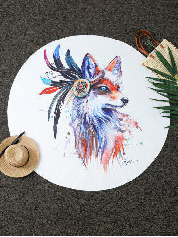 Store Creative Fox Print Round Blanket Throw - ONE SIZE(FIT SIZE XS TO M) WHITE Mobile