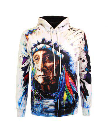 Hot Indian Printed Drawstring Pullover Hoodie COLORMIX 3XL