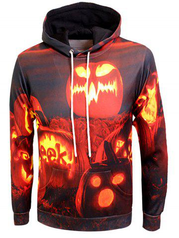 Trendy Pumpkin Lamp Print Kangaroo Pocket Hallowmas Hoodie COLORMIX 3XL