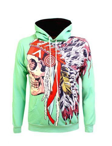 Kangaroo Pocket Drawstring Œillet Graphic Hoodie Vert 3XL