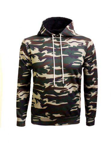 Fancy Kangaroo Pocket Drawstring Eyelet Camo Hoodie