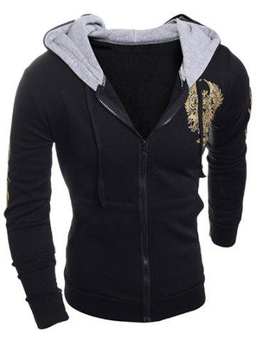 Imprimé à manches longues Graphic Drawstring Zip Up Hoodie
