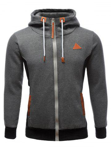 Best PU-Leather Splicing Color Block Hoodie GRAY XL